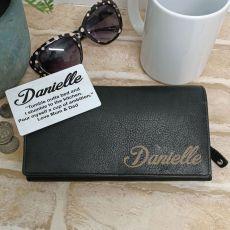 Personalised Black Leather Purse RFID