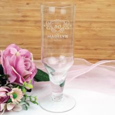 50th Birthday Engraved Personalised Pilsner Glass (F)