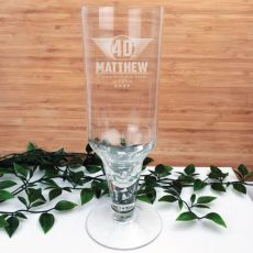 40th Birthday Engraved Personalised Pilsner Glass (M)