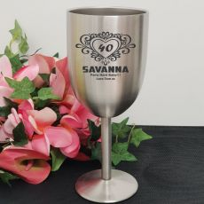 40th Engraved Stainless Steel Wine Glass Goblet (F)