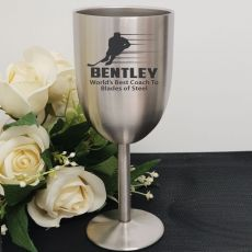 Hockey Coach Engraved Stainless Steel Wine Glass Goblet