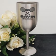 Tennis Coach Engraved Stainless Steel Wine Glass Goblet