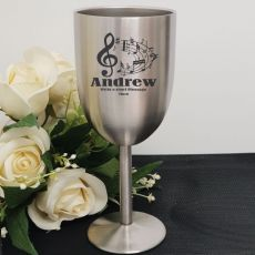 Personalised Engraved Stainless Steel Wine Glass Goblet (M)