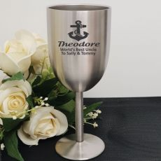Uncle Engraved Stainless Steel Wine Glass Goblet