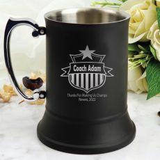 Coach Engraved Personalised Black Beer Stein Glass