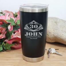 30th Insulated Travel Mug 600ml Black (M)