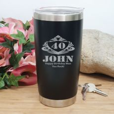 40th Insulated Travel Mug 600ml Black (M)
