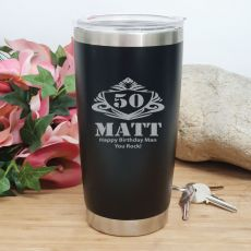 50th Insulated Travel Mug 600ml Black (M)