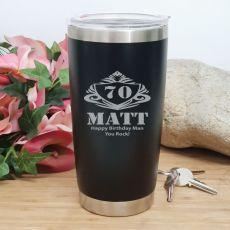 70th Insulated Travel Mug 600ml Black (M)