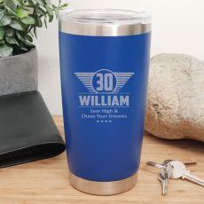 30th Insulated Travel Mug 600ml Dark Blue (M)