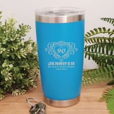 90th Insulated Travel Mug 600ml Light Blue (F)