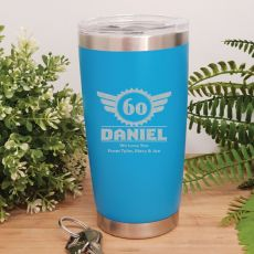60th Insulated Travel Mug 600ml Light Blue (M)