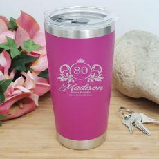 80th Insulated Travel Mug 600ml Pink