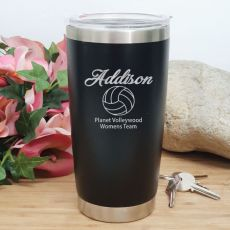 Netball  Coach Engraved Insulated Travel Mug 600ml Black