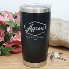 Personalised Insulated Travel Mug 600ml Black (F)