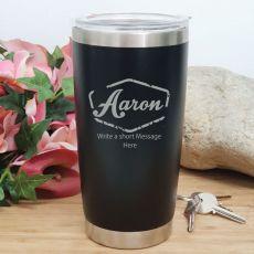 Personalised Insulated Travel Mug 600ml Black (F)