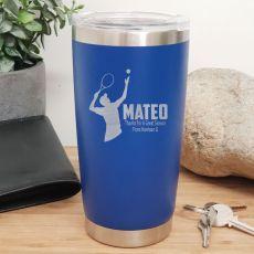 Tennis Coach Engraved Insulated Travel Mug 600ml Dark Blue