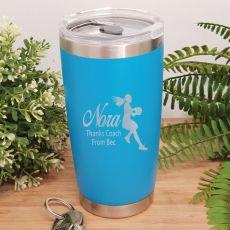 Netball  Coach Engraved Insulated Travel Mug 600ml Light Blue