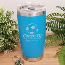 Soccer Coach Engraved Insulated Travel Mug 600ml Light Blue