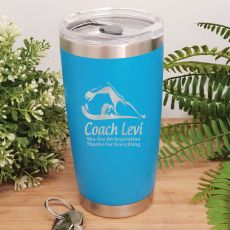 Swim Coach Engraved Insulated Travel Mug 600ml Light Blue