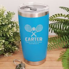 Tennis Coach Engraved Insulated Travel Mug 600ml Light Blue