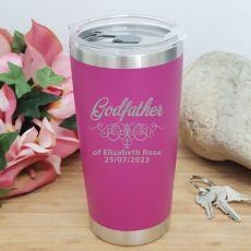 Godfather Personalised Insulated Travel Mug 600ml Pink