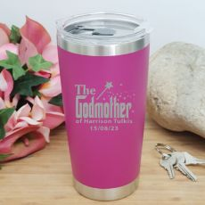 Godmother Personalised Insulated Travel Mug 600ml Pink