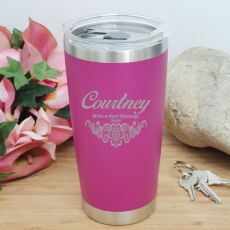 Personalised Insulated Travel Mug 600ml Pink (F)