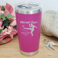 Soccer Coach Engraved Insulated Travel Mug 600ml Pink