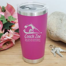Swim Coach Engraved Insulated Travel Mug 600ml Pink