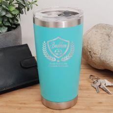 Soccer Coach Engraved Insulated Travel Mug 600ml Teal