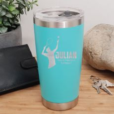 Tennis Coach Engraved Insulated Travel Mug 600ml Teal