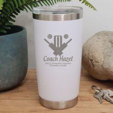 Cricket Coach Insulated Travel Mug 600ml White