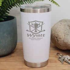 Hockey Coach Engraved Insulated Travel Mug 600ml White