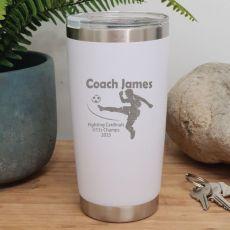 Soccer Coach Engraved Insulated Travel Mug 600ml White