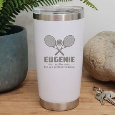 Tennis Coach Engraved Insulated Travel Mug 600ml White