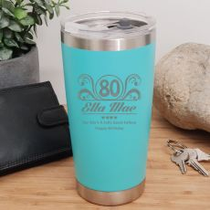 80th Insulated Travel Mug 600ml Teal (F)