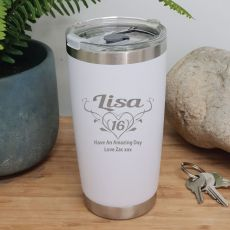 16th Insulated Travel Mug 600ml White (F)