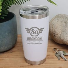 80th Insulated Travel Mug 600ml White (M)