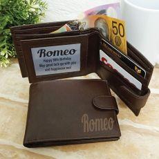 90th Birthday Personalised Brown Leather Wallet RFID