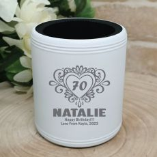 70th Birthday  Engraved White Can Cooler (F)