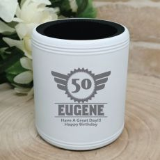 50th Birthday  Engraved White Can Cooler (M)