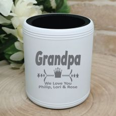 Grandpa Engraved White Can Cooler Personalised Message