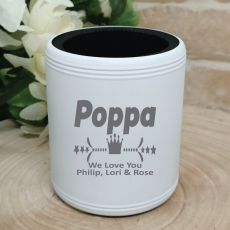 Poppy Engraved White Can Cooler Personalised Message