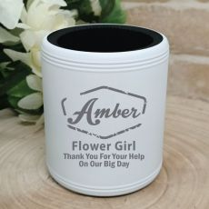 Flower Girl Engraved White Stubby Can Cooler