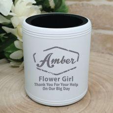 Flower Girl Engraved White Stubby Can Cooler