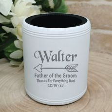 Father of the Groom Engraved White Stubby Can Cooler