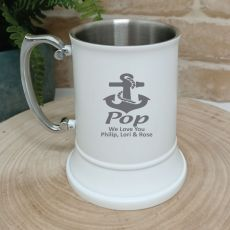 Poppy Engraved Stainless Steel White Beer Stein