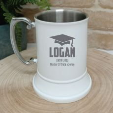 Graduation Engraved Stainless Steel White Beer Stein