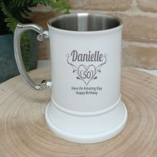 50th Birthday Engraved Stainless Steel White Beer Stein (F)